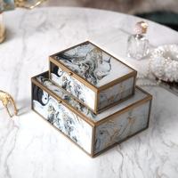 European Modern Agate Texture Jewelry Box New Chinese Ink Decoration Glass Storage Box Model House Villa House Decoration Gift