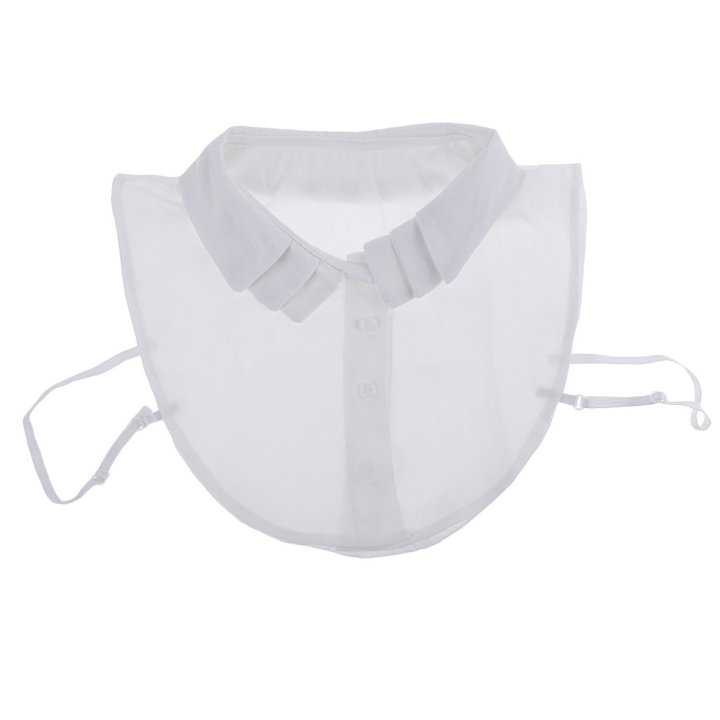 Womens Fake Collar Removable False Blouse Embroidered Chiffon