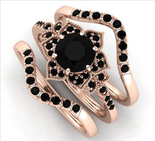 Cross Border Jewelry Rose Gold Black Zircon Flower New Ring Rings for Women Jewelry Anniversary