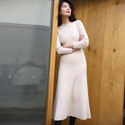 AIGYPTOS Vrouwen Herfst Winter Elegante Slanke O-hals Lange Mouw 100% Wol Gebreide Trui Jurk Dames Korte Causale Zwarte Lange Jurk