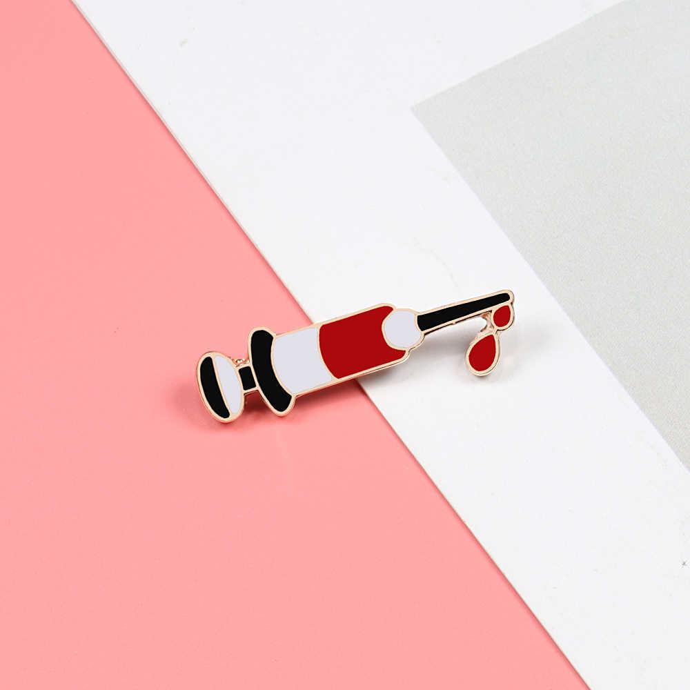 Obat Label Pin Dokter Perawat Injeksi Jarum Suntik Pin Bros Enamel Denim Jaket Kerah Cocok Lencana Pria Wanita Perhiasan Hadiah