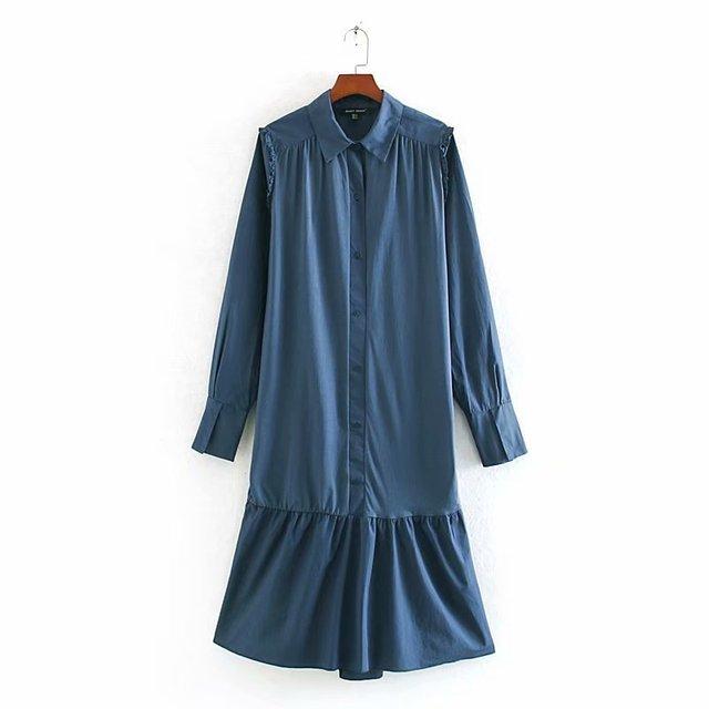 2020 Spring Summer New zaraing women Shirt Dress vadiming sheining female dress sexy vintage plus size clothes Cdc9522 2
