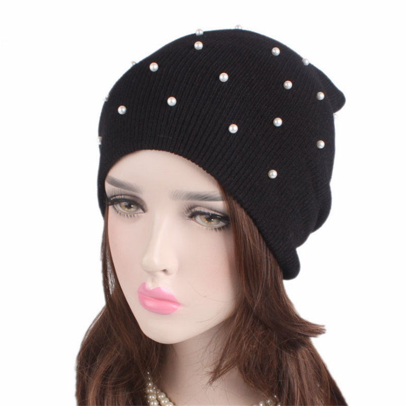 Fashion Pearl Winter Hat Women Solid Color Skullies Beanies Female Winter Beanies Caps Soft Warm Cotton Hats Ladies