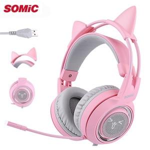 Image 1 - SOMIC G951 USB 7.1 Auricolare Surround Sound Gaming Headset Cuffia Bass Casque con il Gatto Orecchio Mic di vibrazione per il PC Notebook Rosa I bambini Della Ragazza