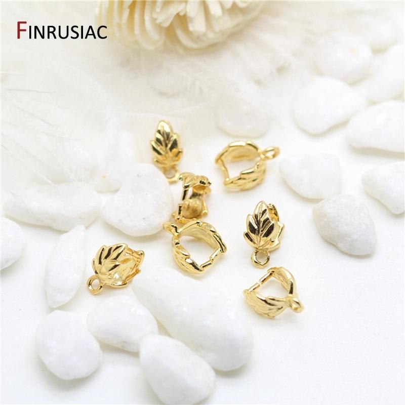 Клип-пинч с покрытием из настоящего золота 14 к в форме листа для изготовления подвесок, фурнитура для самостоятельного изготовления ювелир...