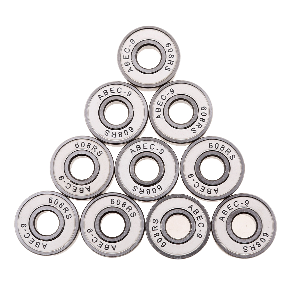10 Pieces Premium ABEC-9 608RS Roller Skate Wheel Bearings Seal Ball Bearing Skate Board Accessories Outdoor Sports Tools