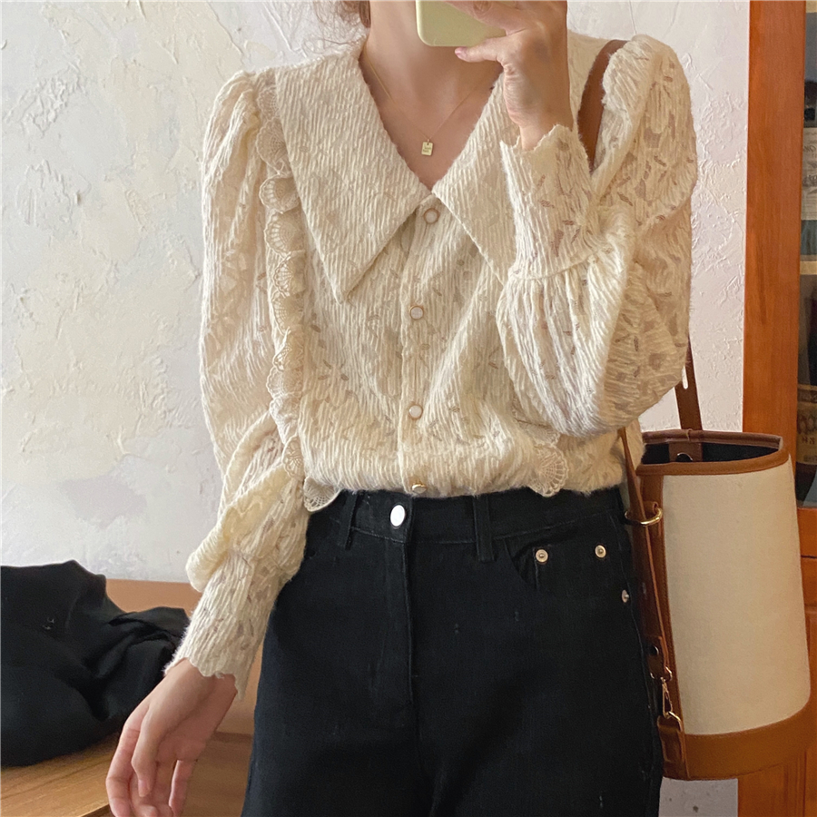 Hb18af519dc85482aa9449d8391a7a72an - Spring / Autumn Chelsea Collar Long Sleeves Lace Blouse