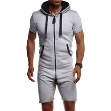 2020 Summer Men Short Jumpsuit Short Sleeve Zipper Hooded Solid Mens Tracksuit Sets One Piece Overalls Sets Fashion Sportwear