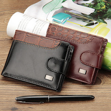 2020 New Patchwork Men Leather Wallets Short Male Purse With