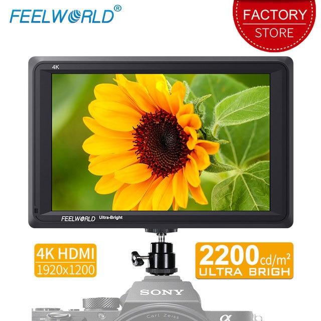Feelworld FW279 7 인치 울트라 브라이트 2200nit DSLR 카메라 필드 모니터 4K HDMI 풀 HD 1920x1200 LCD IPS 고휘도 모니터