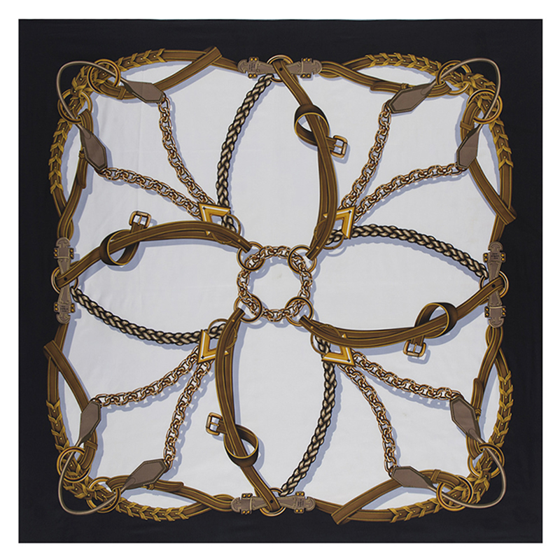 130*130cm Twill Luxury Brand Bandana Chain Printing Silk Scarf For Women Large Square Scarves Satin Headband Shawls Stoles Hijab