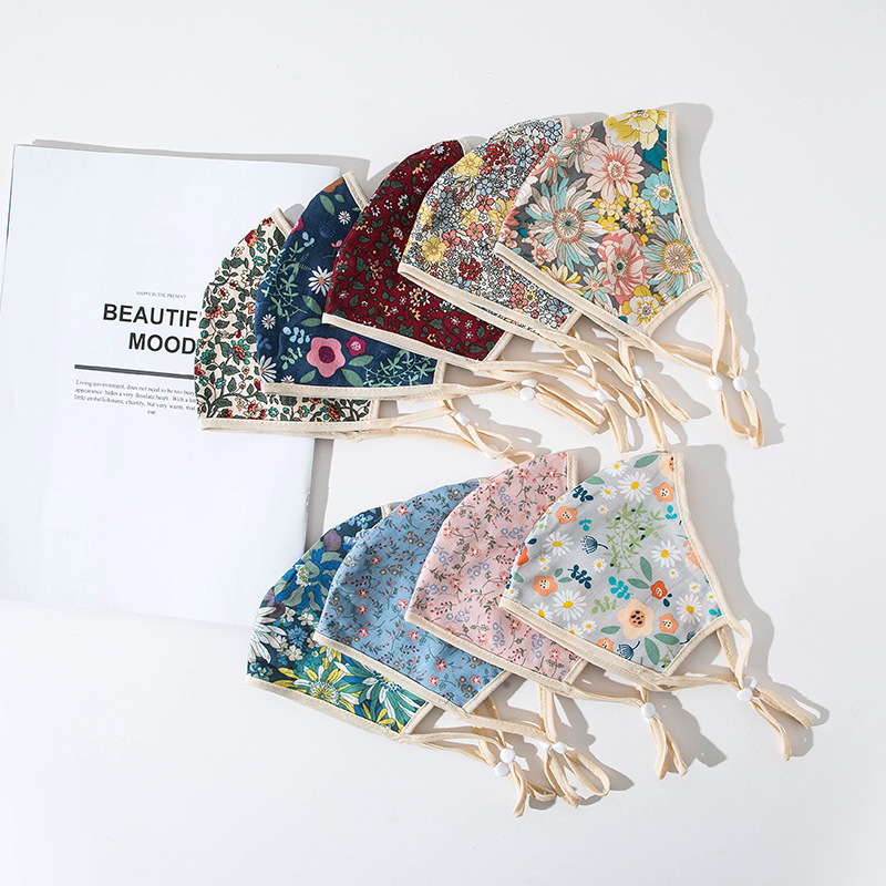 Women Floral Print Ear Buckle Face Masks Breathable Adjustable Face Masks Summer Dustproof Breathable Tide Washable Face Masks