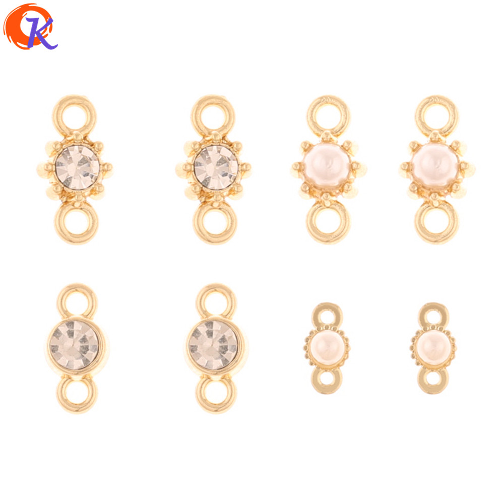 Cordial Design 200Pcs Jewelry Accessories/Rhinestone Earrings Connectors/DIY Making/Imitation Pearl/Hand Made/Earring Findings