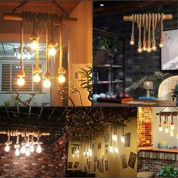 110V-220V 4 Heads Retro Pendant Light Bamboo Hemp Rope Industrial Pendant Lamp Fixture Indoor Lighting Bar Cafe Home Decoration