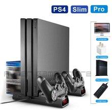 PS4 Slim Pro konsolu dikey stant 2 denetleyici şarj standı 2 soğutma fanı 10 oyun desteği Playstation Play Station 4 adet 4