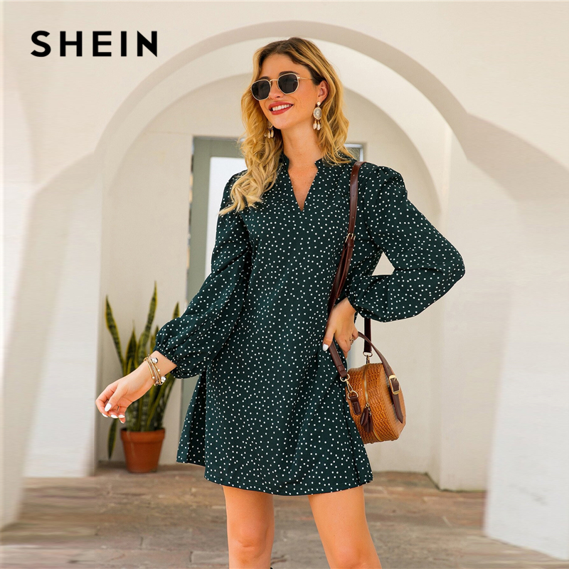 SHEIN Green Notched Polka Dot A-line Short Dress Women Spring Summer Long Bishop Sleeve Loose Casual Tunic Dresses 2