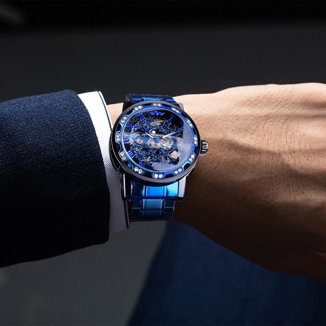 Winner Transparent Diamond Mechanical Watch Blue Stainless Steel Skeleton Watch Top Brand Luxury Business Luminous Male Clock 3