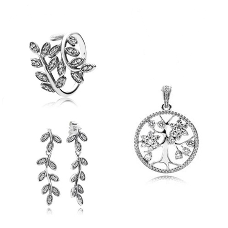 NEW925 Sterling Silver Jewelry Tree Leaves Petals Rings Pendants Earrings Set Elegant Gifts Silverware Factory Outlets