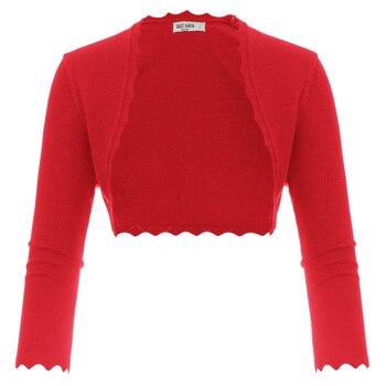 Grace Karin Women Shrug cardigan tops 3/4 Sleeve Open Front Slim Bolero Party Copped Retro Scalloped Knitting Jacket Summer Coat 9