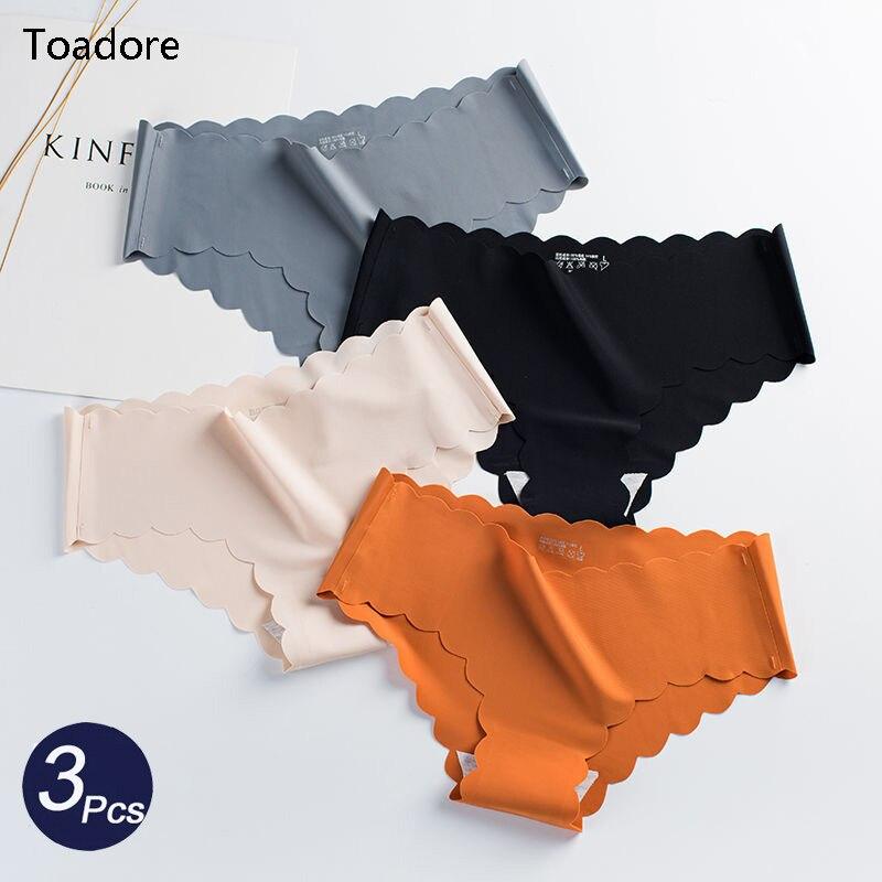 3Pcs/Set Seamless Underwear Female Slip Silk Women's Plain Color Panties Lady Ruffle Underpants Girls Briefs Smooth Panty Bragas 1