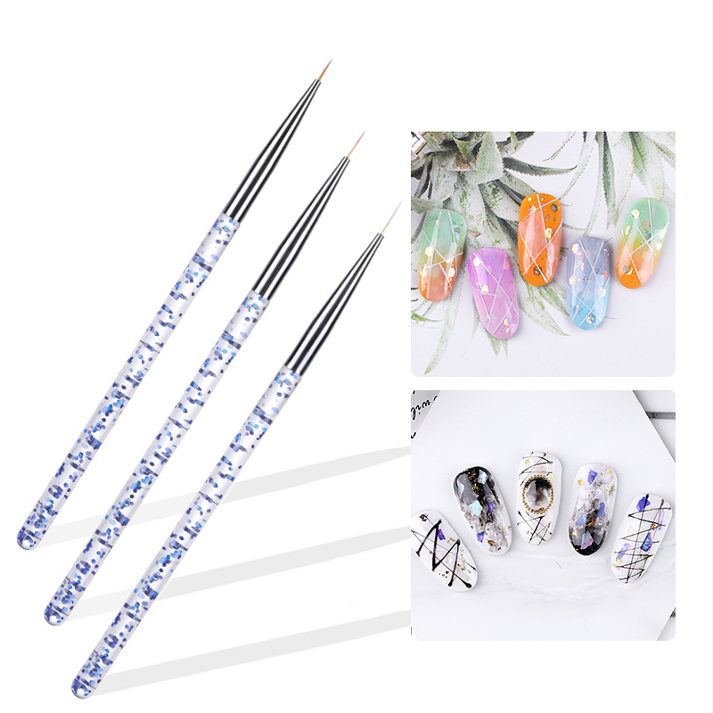 3 Pcs/Set Liner Brush Drawing Painting Drawing Flower Pen Mixed Size Plastic Handle Spider UV Gel Holographic Nail Art Brushes
