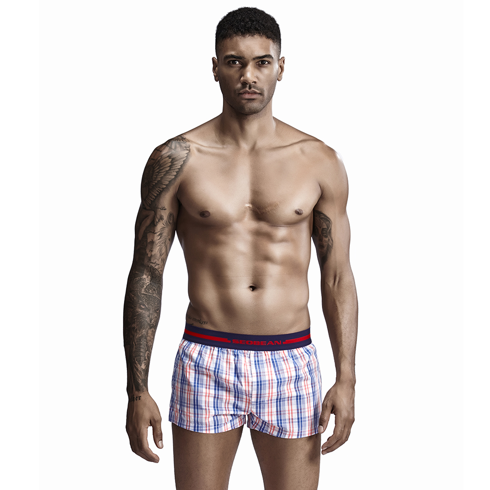 New Men Shorts Cotton Men Home Shorts Gay Penis Pouch Underpants Casual Sleepwear Trunks Men Boxers Size XXL