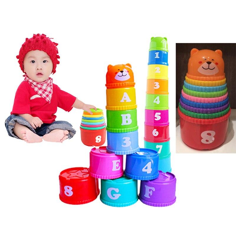 Double-sided 8 pçs educacional bebê menino brinquedos infantis 6 mês + figuras letras foldind pilha copa torre crianças inteligência precoce