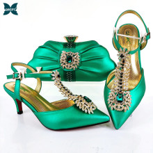 Ladies Shoes Wedding Green-Color Fashionable Lastest Elegangt Party And No for Bag-Set