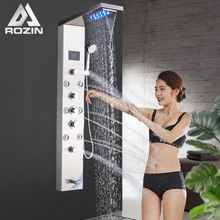 Mixer Tap Shower-Faucets Brushed Nickel Digital-Screen Bathroom Rozin Rainfall Black