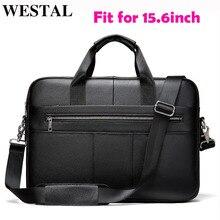 WESTAL-maletín de piel auténtica para hombre, bolsa para ordenador portátil con 15 bolsos, para documentos, A4, 850