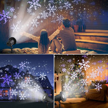 Рождественский светодиодный проектор со снежинками с вращающимся