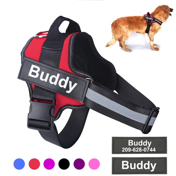 Reflective Personalized Dog Harness Custom name and phone number