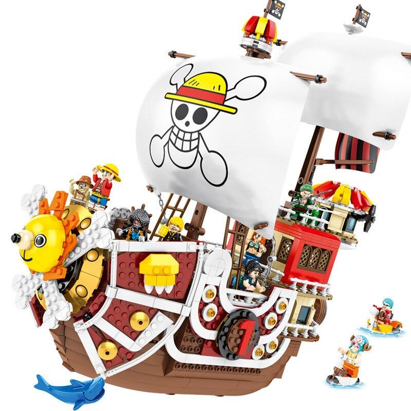2019 nouveau une pièce singe D. Luffy mille ensoleillé Pirate bateau blocs de construction modèle ensembles briques classique pour enfants jouets cadeau