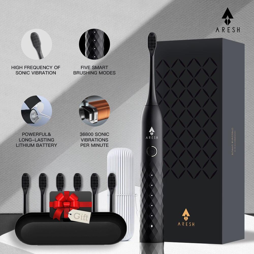ARESH – brosse à dents électrique professionnelle noire L1, brosse à dents sonique intelligente Rechargeable, 5 modes, brosse ultrasonique automatique IPX7 pour adulte
