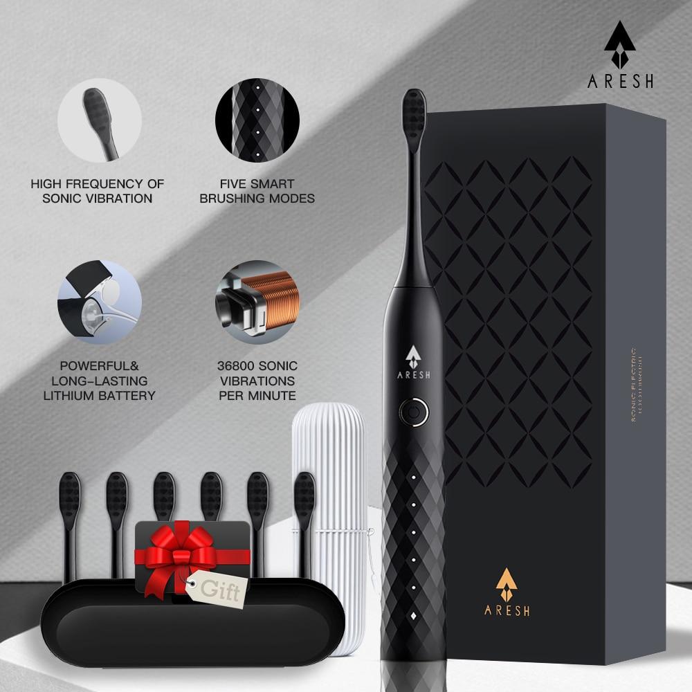 Schwarz Business Elektrische Zahnbürste ARESH L1 Smart Wiederaufladbare Sonic Zahnbürste 5 Modus Erwachsene IPX7 Automatische Ultra sonic Pinsel