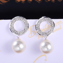 2019 new luxury retro halo Pearl 925 sterling silver earrings for women party gift  jewelry wholesale moonso  E5492 moonso