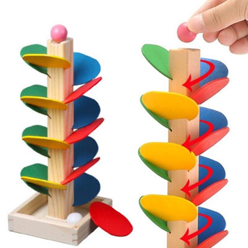 Montessori Educational Toy Blocks Wooden Tree Marble Ball Run Track Game Baby Kids Intelligence Early Juguetes Educativos(China)