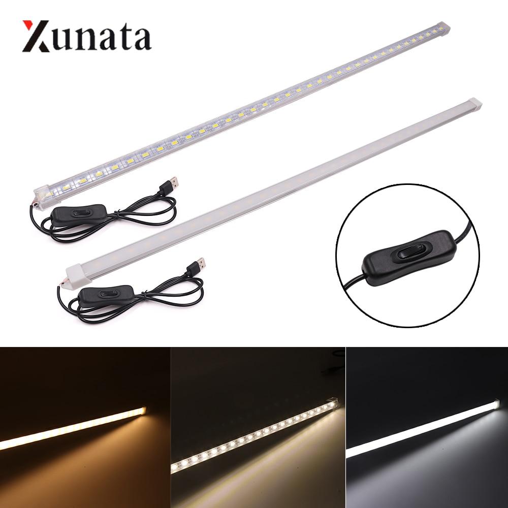 DC5V LED Bar Light With Switch USB Powered  LED Strip Light 5630 10/20/35/50CM LED Rigid Strip Cabinet Kitchen Light Night Lamp