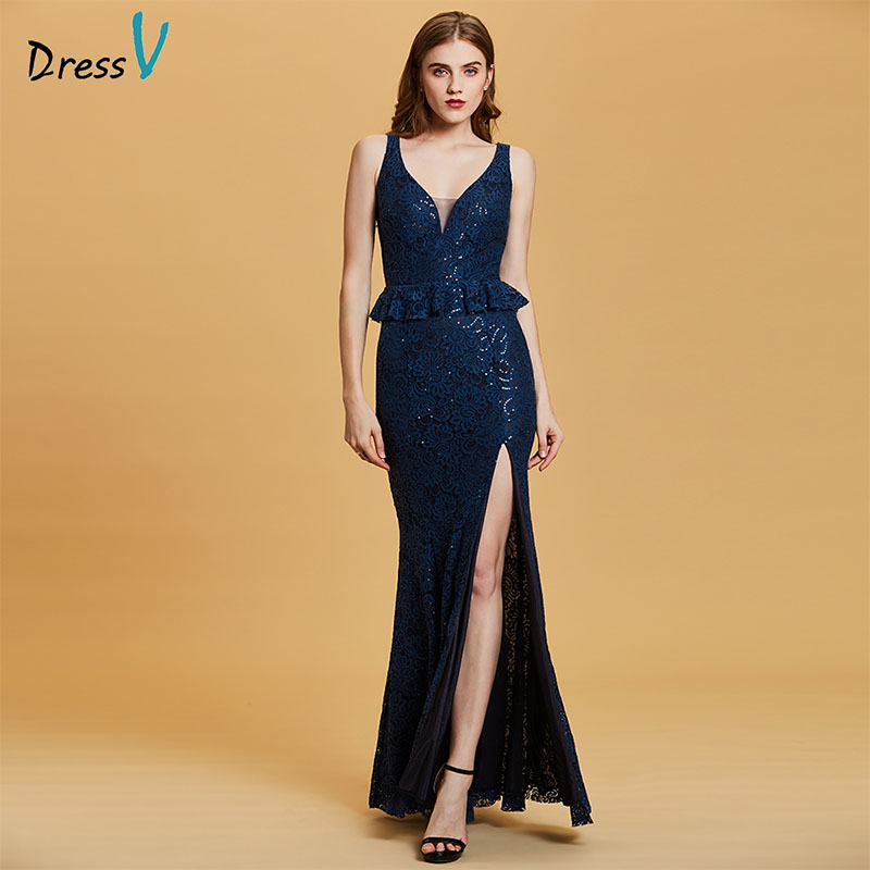 Dressv Dark Royal Blue Evening Dress Cheap V Neck Seuqins Mermaid Zipper Up Wedding Party Formal Dress Trumpet Evening Dresses