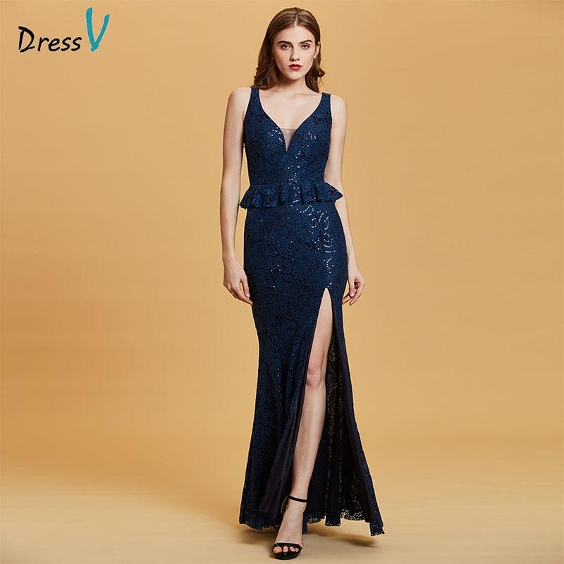 Dressv Dark Royal Blue Evening Dress Cheap V Neck Seuqins Mermaid Zipper Up Wedding Party Formal Dress Trumpet Evening Dresses
