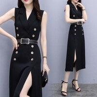 Ladies autumn office wear elegant women work dress suit business clothes OL sleeveless split suit collar professional dress