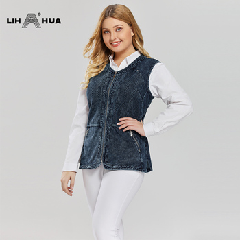 LIH HUA Women's Plus Size Casual Denim Vest stockinet high flexibility Casual jeans Vest Knitted Denim OL Style 1