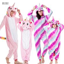Zima chłopcy dziewczęta piżamy jednorożec kobiety piżamy Cartoon zwierząt Stitch Panda Onesie Kigurumi piżamy dzieci dziecko piżamy kombinezon tanie tanio sumioon Poliester unicorn pajamas Flanelowe Unisex Pasuje prawda na wymiar weź swój normalny rozmiar pijama unicornio