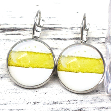 Vintage Hand-painted Original Art Earrings Tender Yellow Stripe Watercolor Series White Charm Glass Cute Woman Party Gift