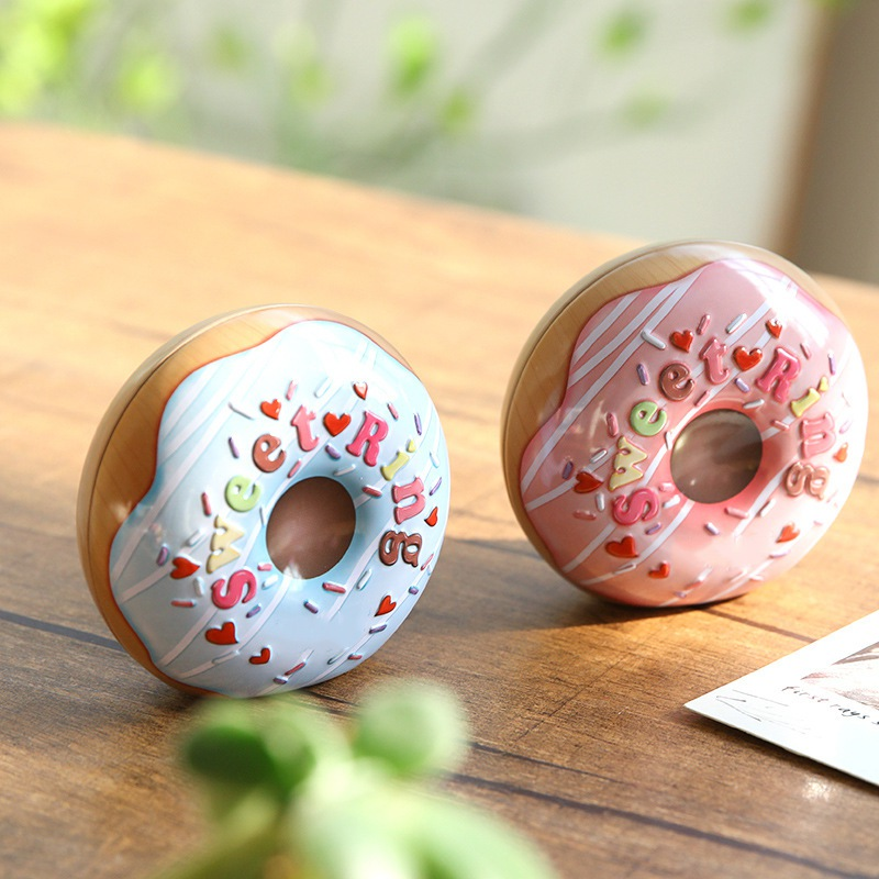Tinplate Candy Box Donut Shaped Metal Empty Tins Cookie Chocolate Storage Container Party Favors Cute #