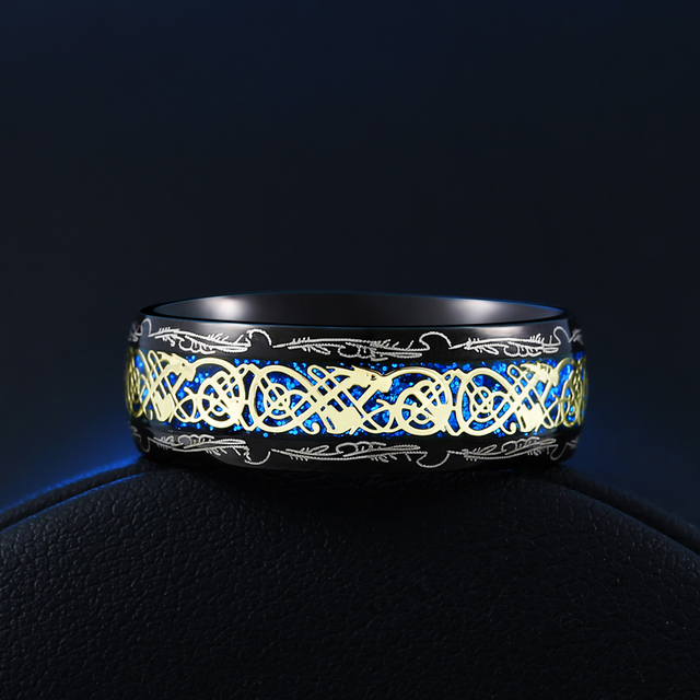2020 New Arrive Fashion 316L Stainless Steel Golden Dragon Man's Ring Blu-ray Simple Fashion High Quality Jewelry 2