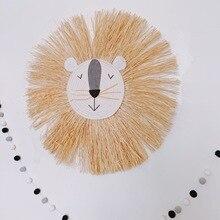 Kids Room Decor Animal Head Wall Decor Hand Woven Cartoon Lion Animal Kindergarten Nursery Hanging Decoration Baby Girl Gift