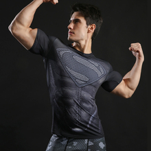 Superman t shirt Men Compression tShirts Batman Tops The Flash T-shirts Fitness Crossfit Tees Bodybuilding compression shirt