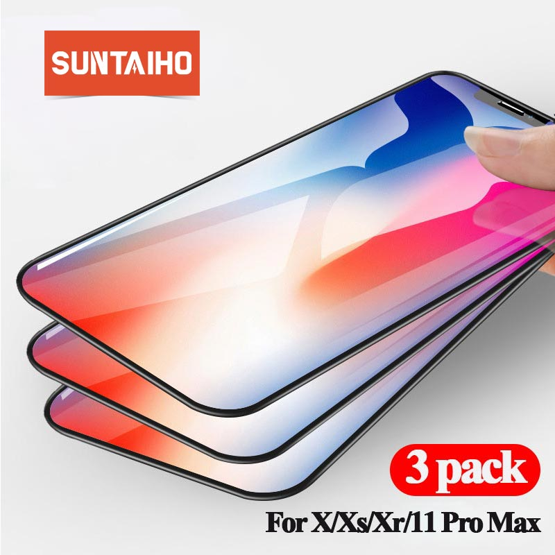 Suntaiho For iphone 11 screen protector 3-pack For iphone screen protector tempered glass 11 pro max Xr X Xs 8 7 6 6s plus XsMAX