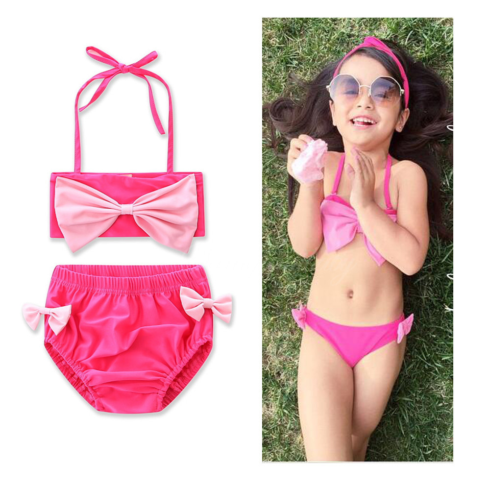 2017 Summer New Style Hot Selling Bathing Suit Rose-red Butterfly Dish Knot GIRL'S Swimsuit Three-piece Set